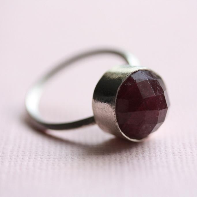 Red corundum ring by Dorota Todd