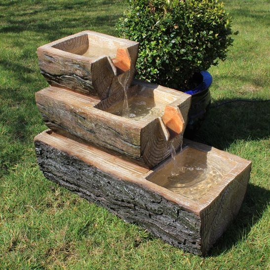 3 Level Wooden Log Water Feature Garden Fountain
