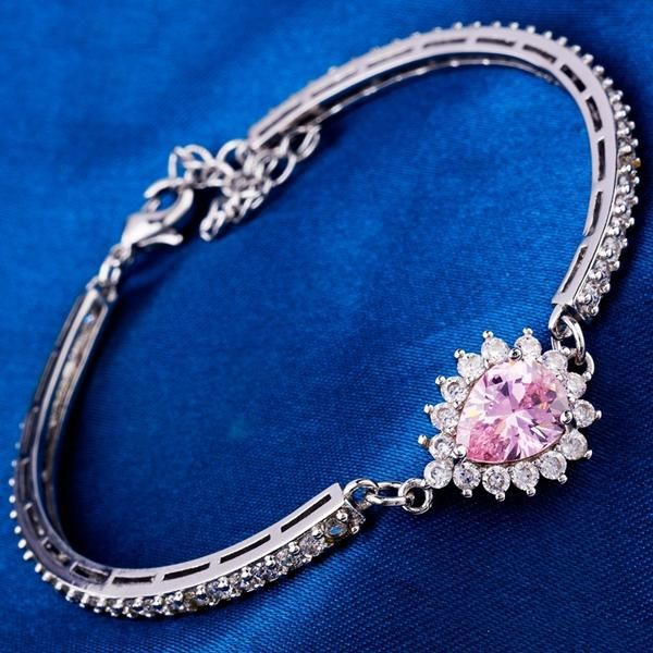 Luxury CZ synthetic gemstone star fashion show style White gold plated bracelets bangles Top quality jewelry 3 Colors - cubic zirconia jewelry