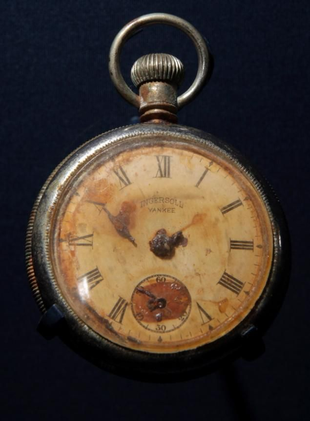 This pocket watch was recovered from the body of Titanic steward Sidney Sedunary. It reads ten minutes to two, right around the time on April 15, 1912 that the Titanic became completely submerged in water. This pocket watch is displayed at SeaCity Museum in the Titanic exhibition that opened on the 100th anniversary of the ship's sinking.