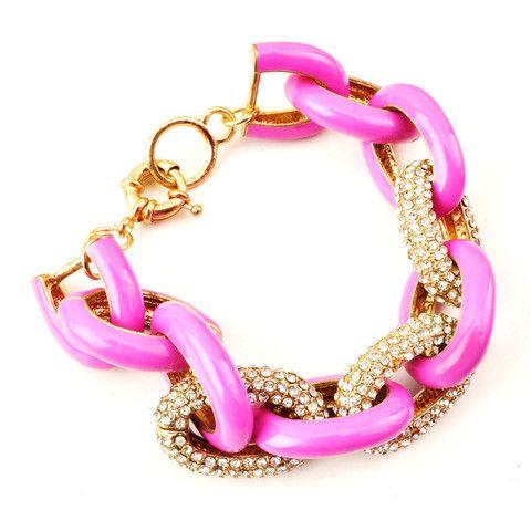 Pave and pink bracelet #colour #bangle #links