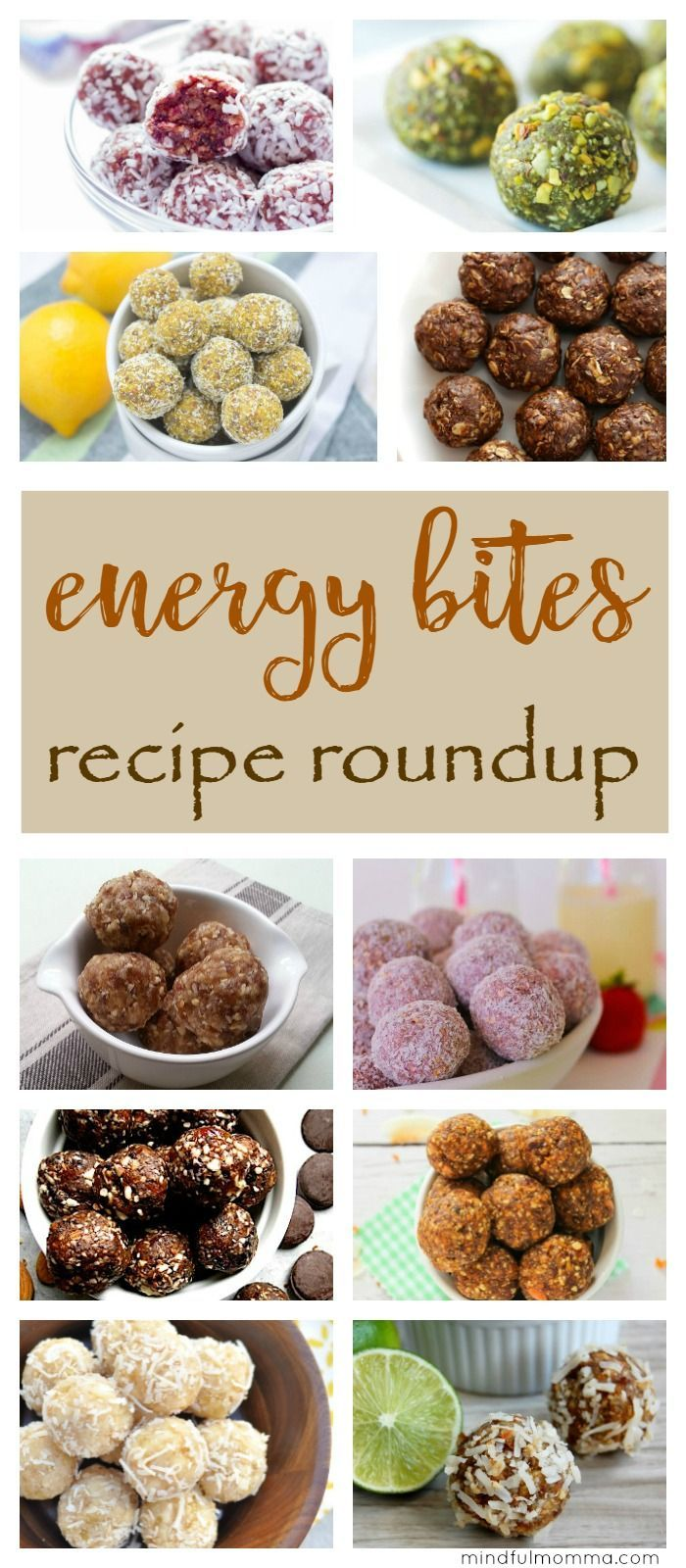 A roundup of homemade energy bites recipes in every flavor combination imaginable! Energy bites or energy ballls are an easy, healthy, kid-friendly snack, breakfast or dessert.   #healthysnack #energybites #recipe #snacks