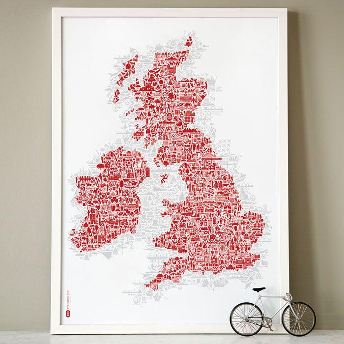 nickprints-стены арт-карту-Британия-британская-острова-карту