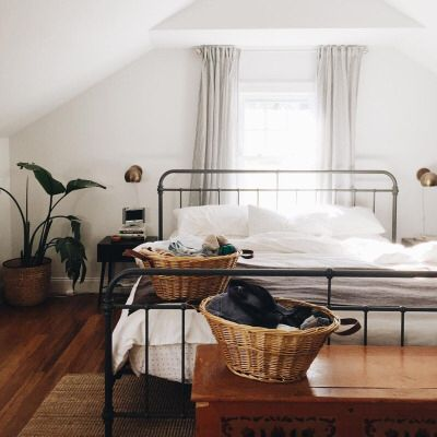 home bedroom simple white plants