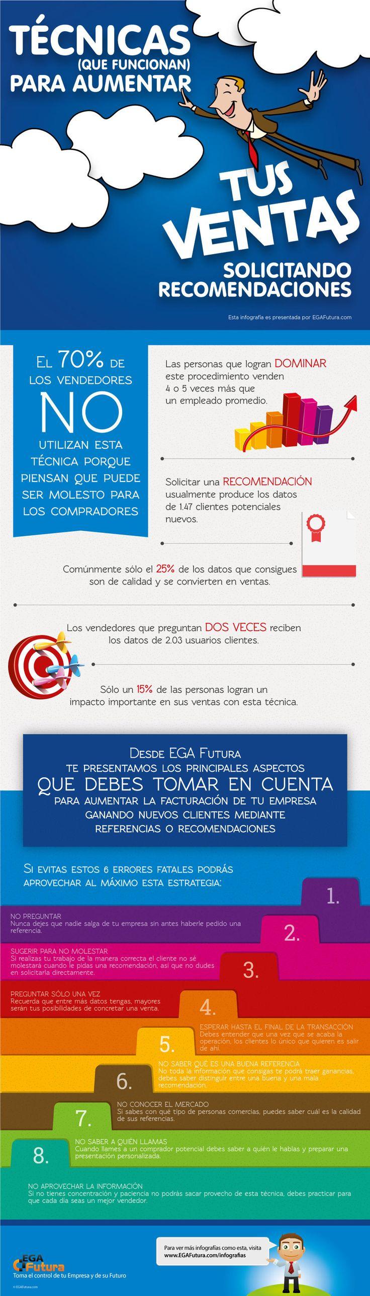 Técnicas para aumentar ventas solicitando recomendaciones Vía: egafutura.com #infografia #infographic #marketing