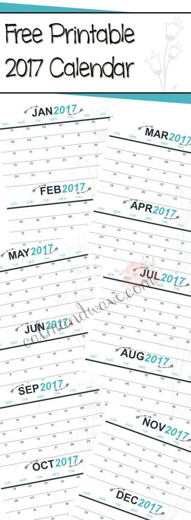 2017 Free Printable Monthly Calendar | 2 months per page | New Year's Resolution | Weight Tracker | Calm & Wave