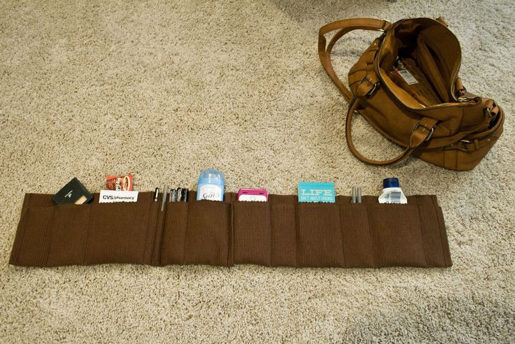 Easy Purse Organizer DIY from Walmart place mats. Every bag should have one of these.
