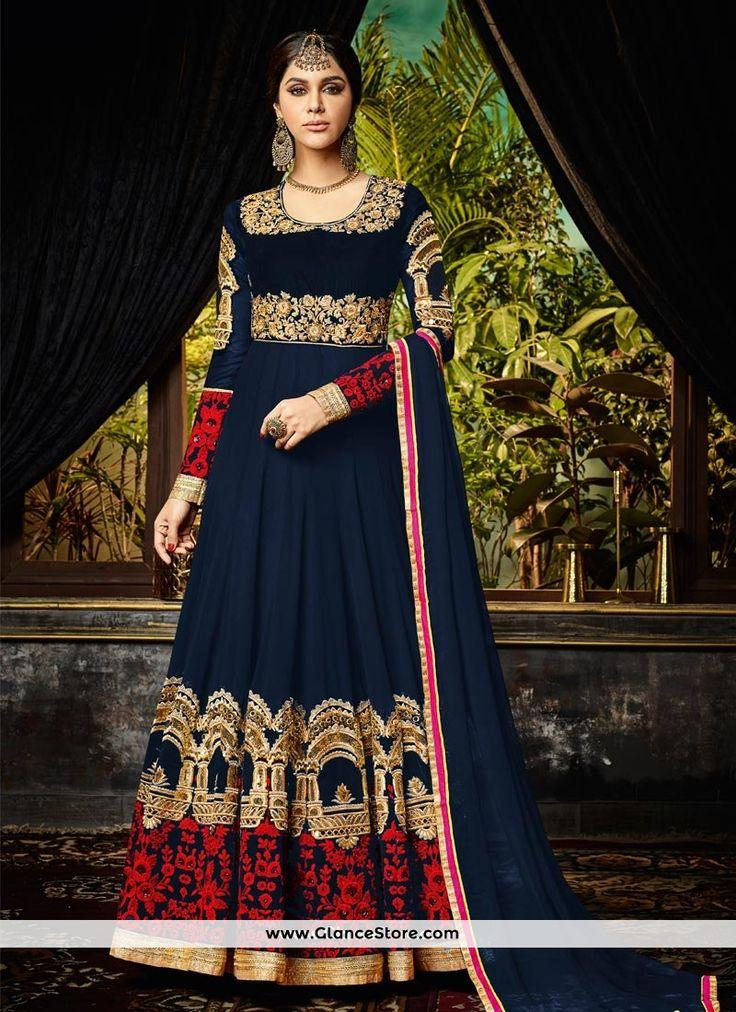Embroidered Georgette Floor Length Anarkali Suit In Navy Blue