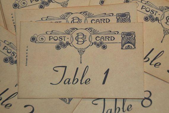 Wedding Table Number Cards  Vintage Postcard by GreenAcresCottage, $24.00