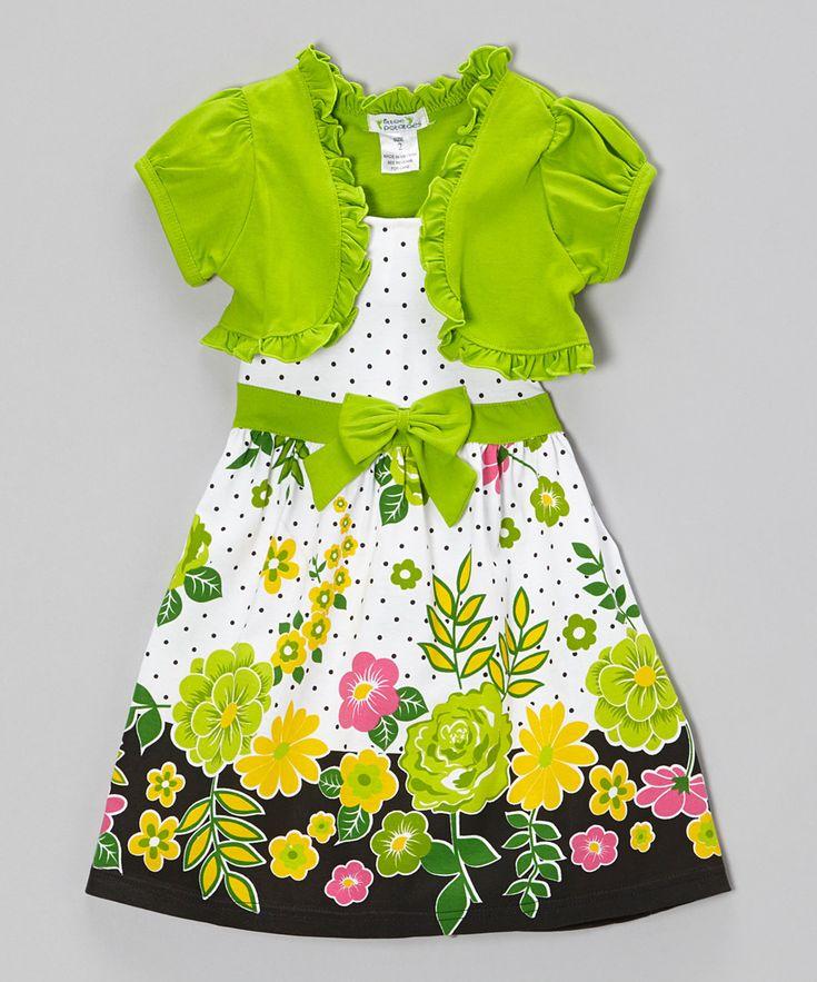 Lime Floral Polka Dot Dress & Shrug - Infant, Toddler & Girls