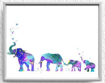 Elefante familia mamá papá y bebé 3 por WatercolorPrintsUSA en Etsy