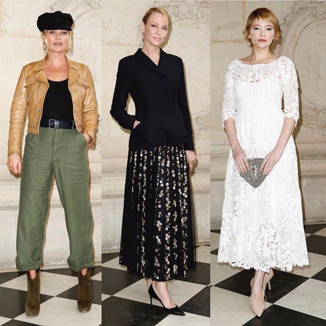 Front row at @Dior show yesterday in Paris./ Кейт Мосс Ума Турман и Хейли Беннетт на показе Dior прошедшем вчера в Париже.  via VOGUE RUSSIA MAGAZINE OFFICIAL INSTAGRAM - Fashion Campaigns  Haute Couture  Advertising  Editorial Photography  Magazine Cover Designs  Supermodels  Runway Models
