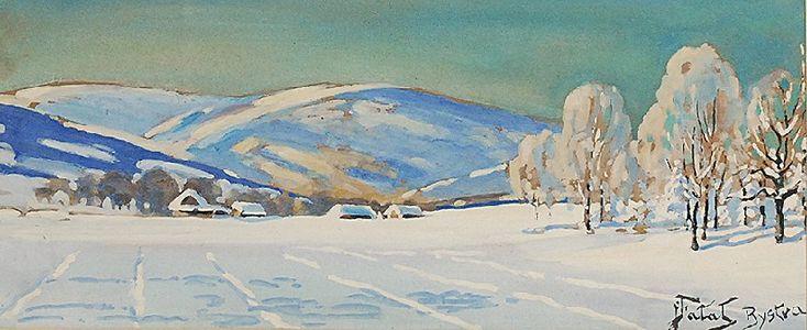 Julian FAŁAT (1853-1929)  Pejzaż zimowy z Bystrej, ok. 1920 akwarela, gwasz, papier; 18 x 43 cm (w świetle oprawy); sygn. p. d.: JFałat Bystra