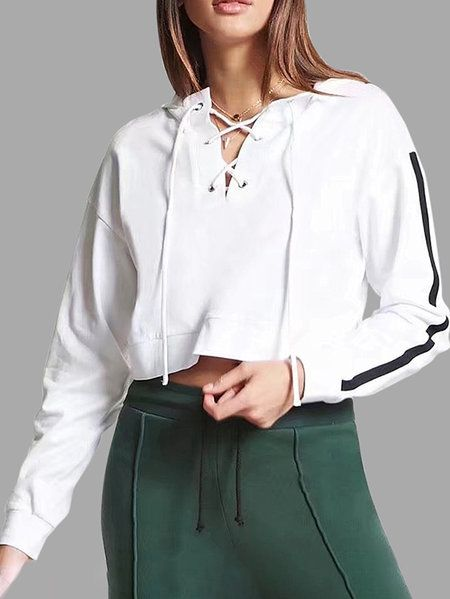 Active Crossed Front Design Pullover Sports Hoodies in White