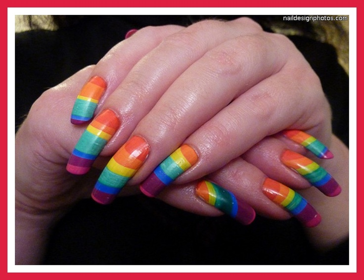 nail art: Rainbows Nails Art, Nails Design, Rainbow Nails, Nail Design, Nails Art Design, Long Nails, Rainbow Nail Art, Art Nails, Water Marbles Nails