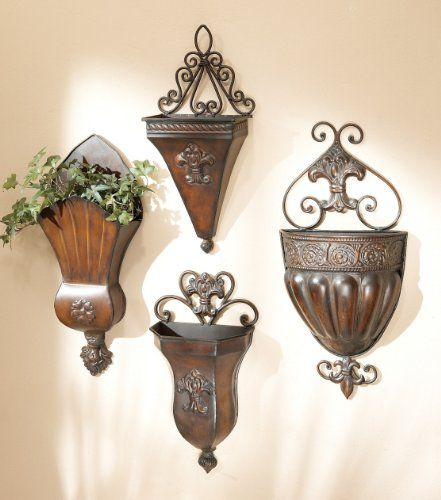 Set of 4 Antique Style Bronze Iron Tuscan Wall Planters