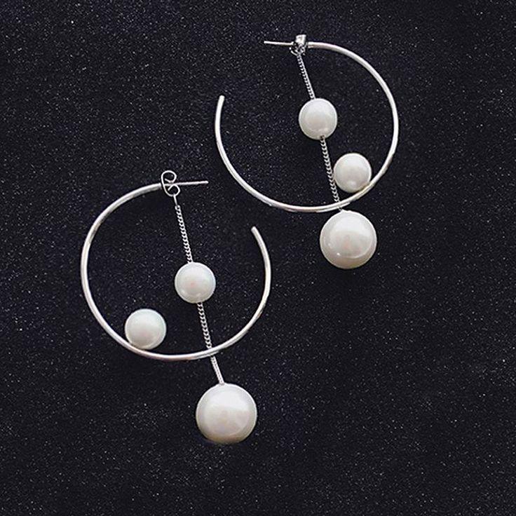 Vrouwen eenvoudige gesimuleerde pearl verklaring oorbellen persoonlijkheid bijoux geometrische mode-sieraden geschenken