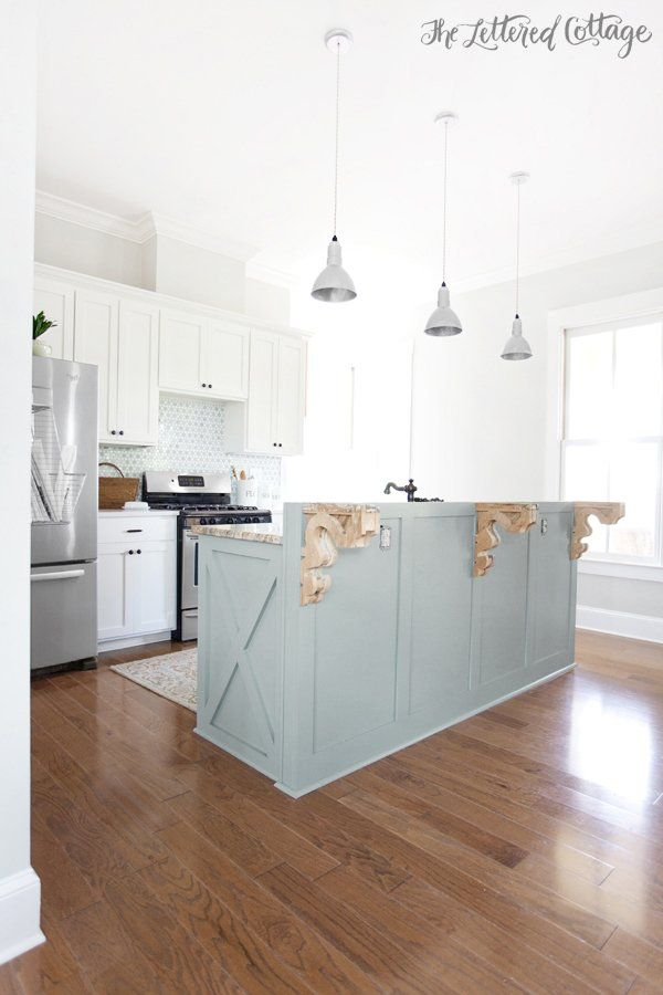 25 best gray island ideas on pinterest grey kitchen for Benjamin moore oxford white kitchen cabinets