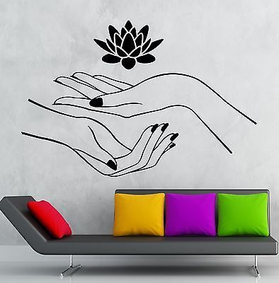 Lotus Wall Stickers Hands Spa Relaxation Yoga Zen Vinyl Decal (ig2414)