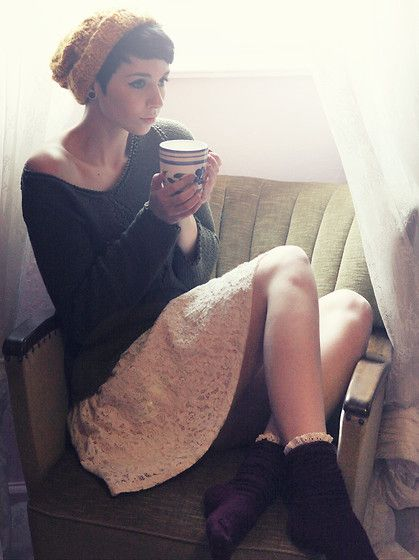 H Beanie, Jumper, H Skirt, Primark Socks-omg it needs to be fall already,perfect outfit inspiration for school.