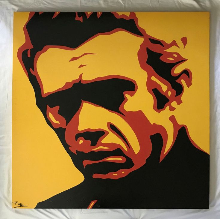 ORIGINAL 4' x 4' OIL PAINTING OF STEVE MCQUEEN by L.A. ARTIST SIGNED POP ART #PopArt