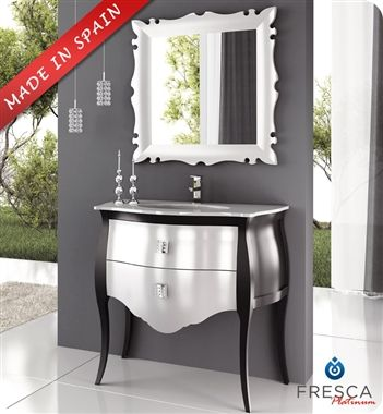 Website Picture Gallery Fresca Platinum Paris Glossy Silver Black Bathroom Vanity with Swarovski Handles