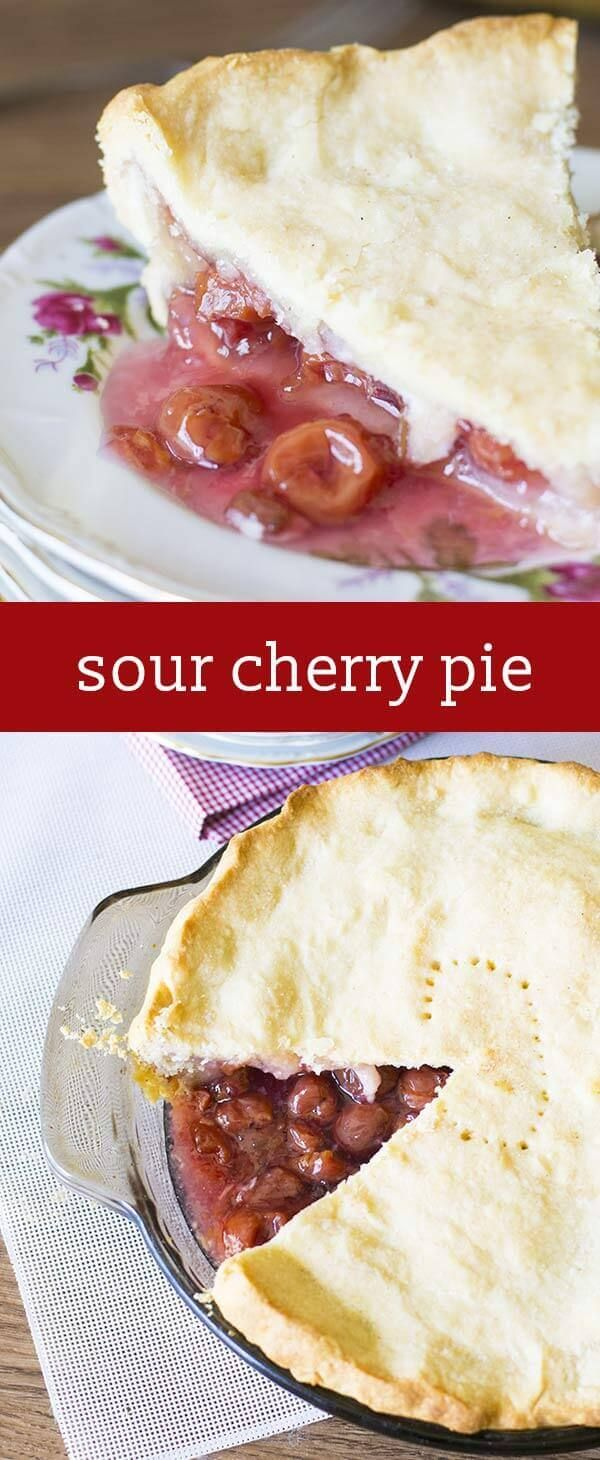 This is my Grandma's Sour Cherry Pie, simply the best cherry pie there is! It's so easy to make with just 4 ingredients. We love eating it with ice cream! easy cherry pie recipe / from scratch cherry pie via @tastesoflizzyt