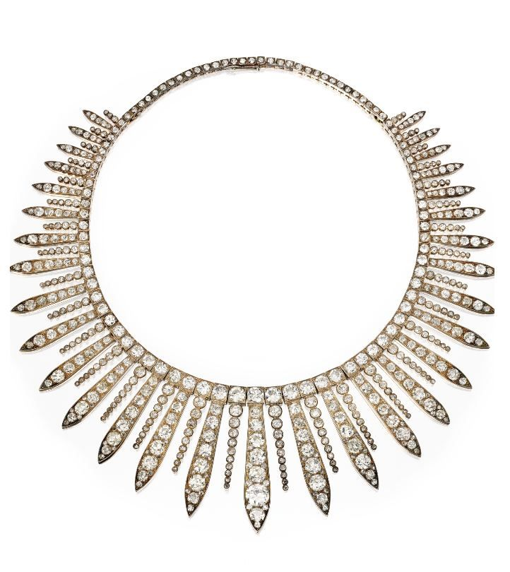 Silver, Gold and Diamond Fringe Necklace, Mid 19th Century