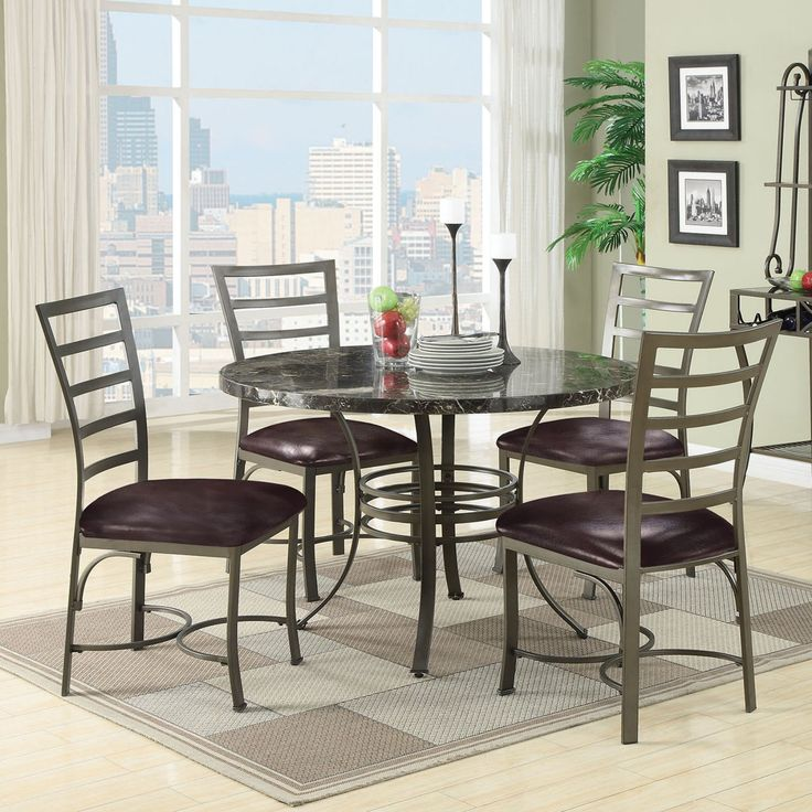 Acme Furniture Daisy 5 Piece Round Faux Marble Dining Table Set - 70150
