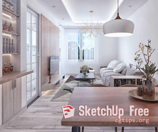 989 Interior Apartment 3 Scene Sketchup Model Free Download