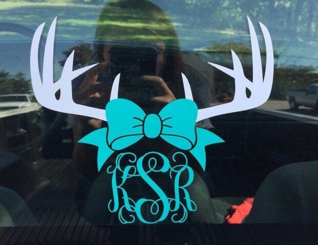 Deer Antler Monogram |  Antler Monogram Decal | Browning Decal | Browning Car Decal |  Car Decal | by MMVinylCreations on Etsy https://www.etsy.com/listing/244231064/deer-antler-monogram-antler-monogram