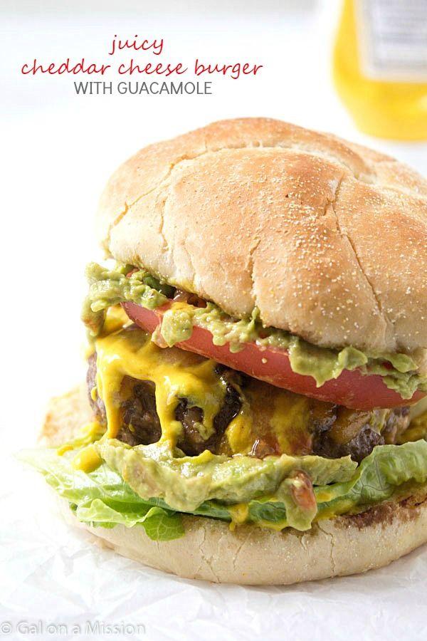 juicy cheddar cheese burger with guacamole tasty burger hamburger ...