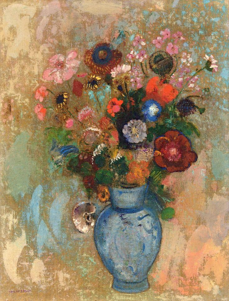 Odilon Redon ~ Flowers in a Blue Vase
