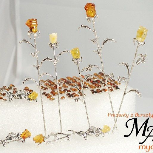Rose collection.   Silver sterling 925, Amber stone.  Handmade.
