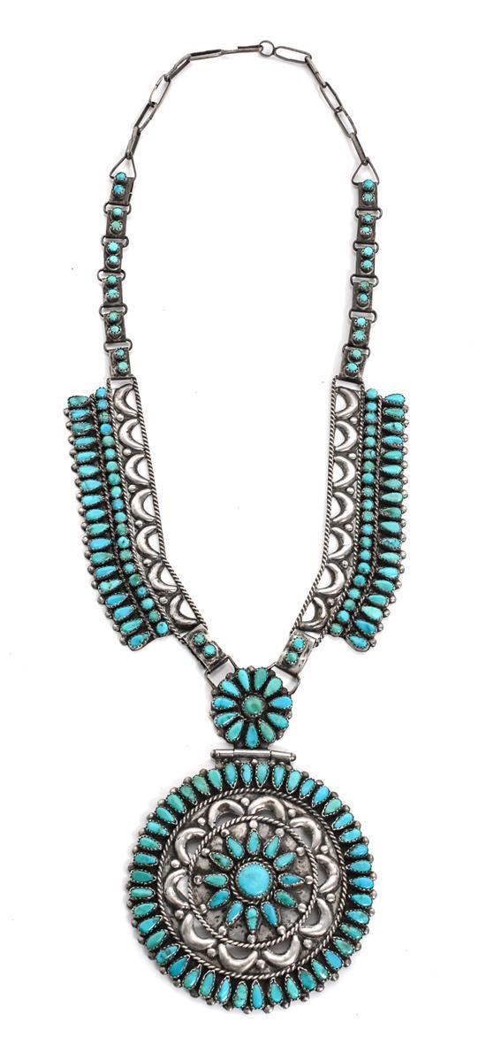 A Navajo Pendant Neclace, Victor Moses Begay Length 22 inches; diameter of