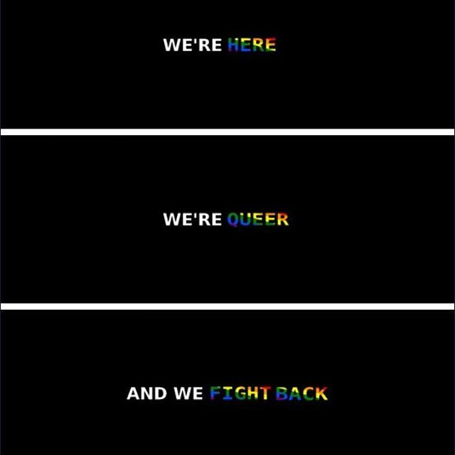 .we're here, we're queer and we fight back...if we have to ...
