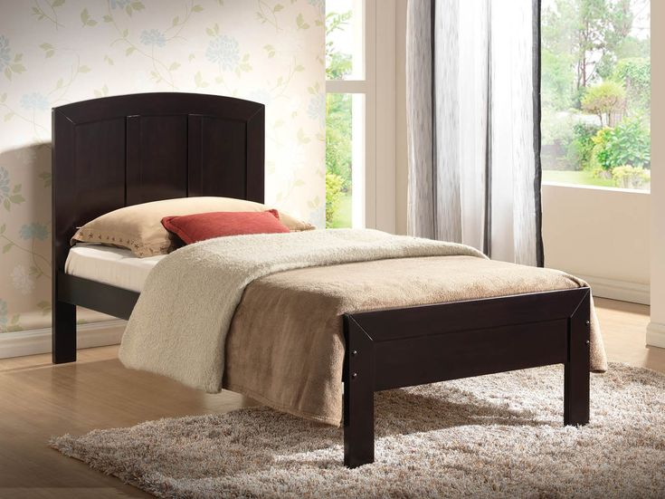 Bedroom : Small Black Wood Twin Size Bed Frame With Headboard Has Two Big  Pillows And