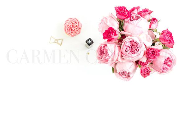 Pink Floral Bouquet Styled Stock Photography by CarmenCreativeShop