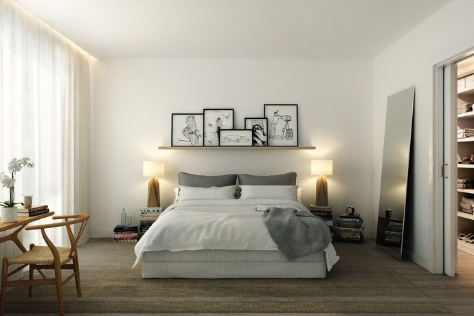Soft grays, natural wood tones, perfect balance with white walls.