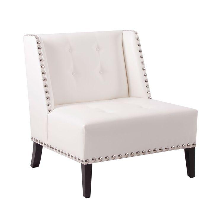 #Sillón individual en color #blanco con #tachuelas. Comodísimo sofá para…