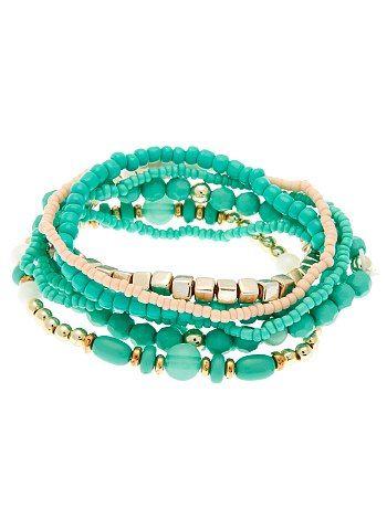 Set 7 braccialetti elastici perline                                                                                 blu Donna