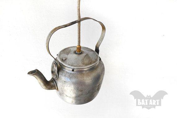 BAT™ ART Pendant Light - Vintage Tea pot - Lighting Fixture pot - Chandelier - Εngraving designs - Special Edition - E14 lampholder Product Dimensions 23cm Height (including handle) x 14cm Diameter by Think4HandmadeArt