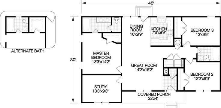 20 best ranch single story floorplans images on for Expanded ranch floor plan