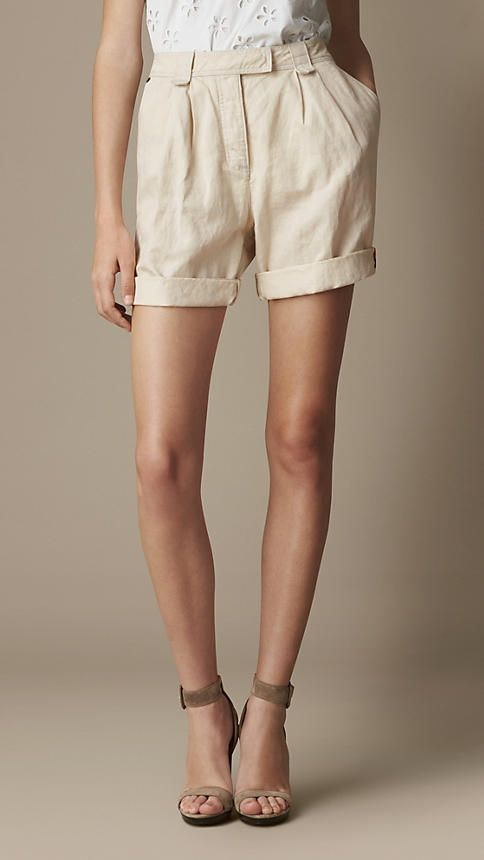Pleat Detail Cotton Linen Shorts | Burberry