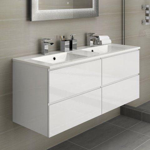 1200mm Trevia High Gloss White Double Basin Cabinet - soak.com
