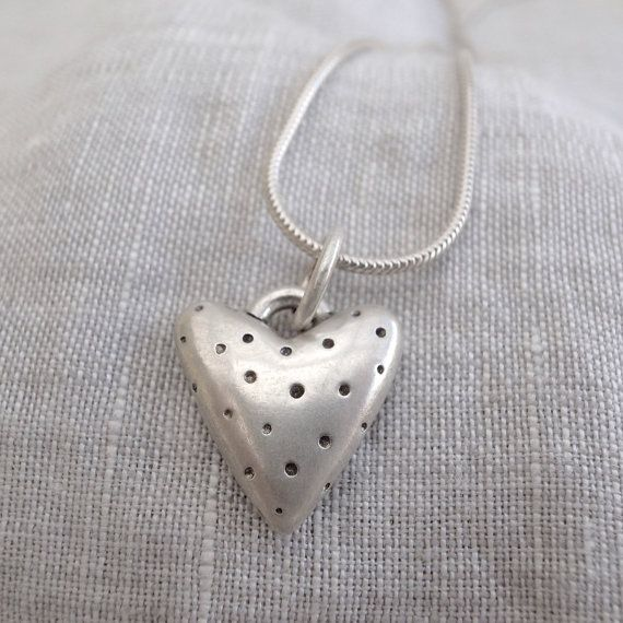 spotted silver heart pendant sterling silver by slradornments