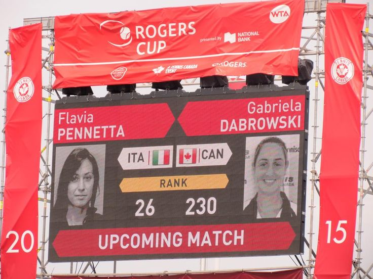 8/10/15 Flavia Pennetta advanced to #RogersCup 2nd rd - def. home fave Gabriela Dabrowski 6-4, 6-1. pic via Mike McIntyre