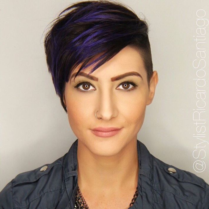 Brown Pixie Undercut With Blue Highlights