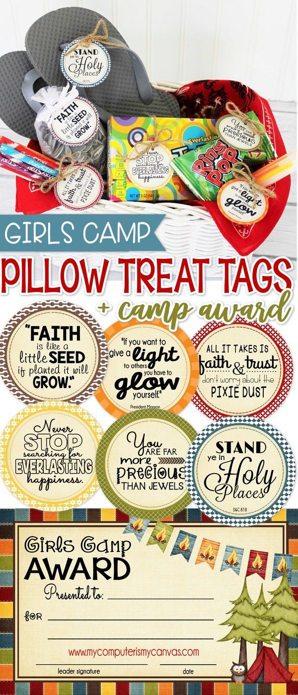 "Lisa is on a roll with her new ""gift tag"" series - I'm LOVING her set for Girls Camp!! For as long as I can remember, it's tradition for the leaders to leave a little uplifting treat/message on the gi"