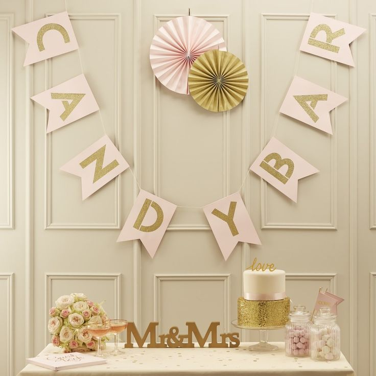 Having a Candy Bar at a wedding is such a fun idea! Great to keep the kids (and adults!) happy! This bunting is the perfect addition in gold and pastel pink! - Pastel Perfection at GingerRay.co.uk